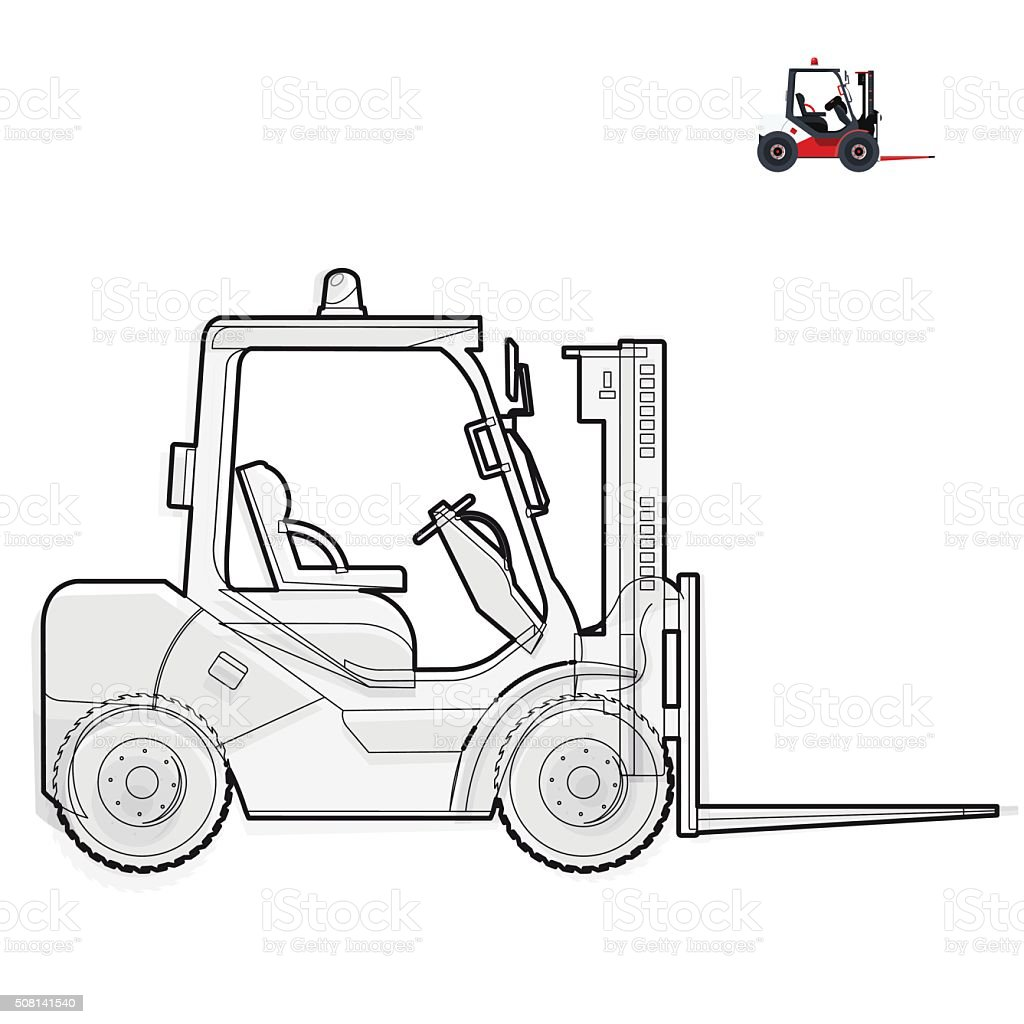 Black And White Wire Fork Lift Loader Works In Storage