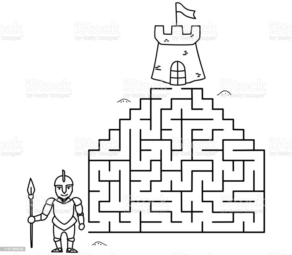 Black Coloring Pages With Maze Cartoon Knight And Castle