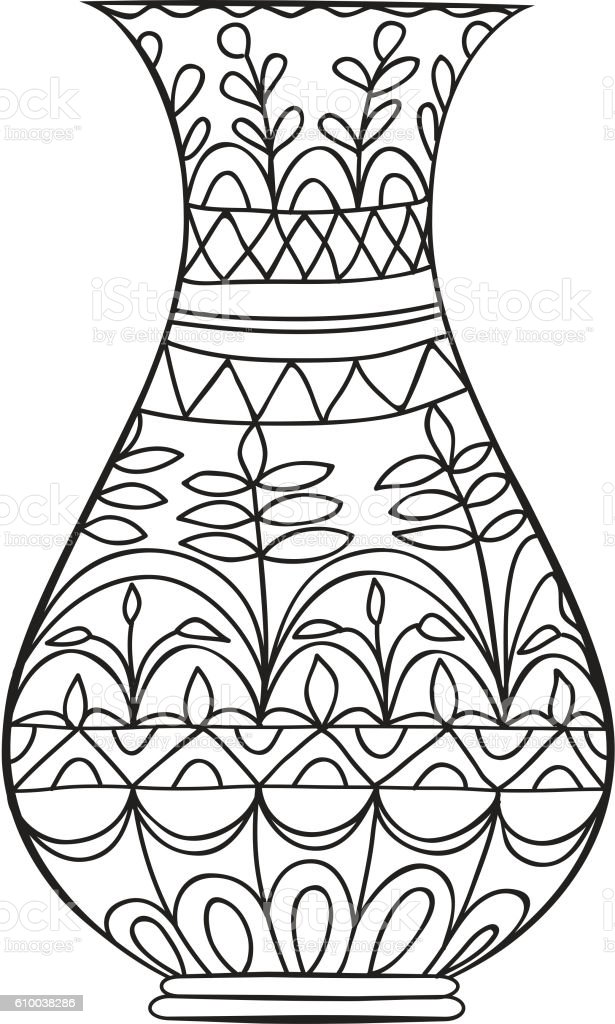Black Doodle Vase For Flowers Adult Coloring Page Stock