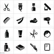 black hair salon icons stock vector