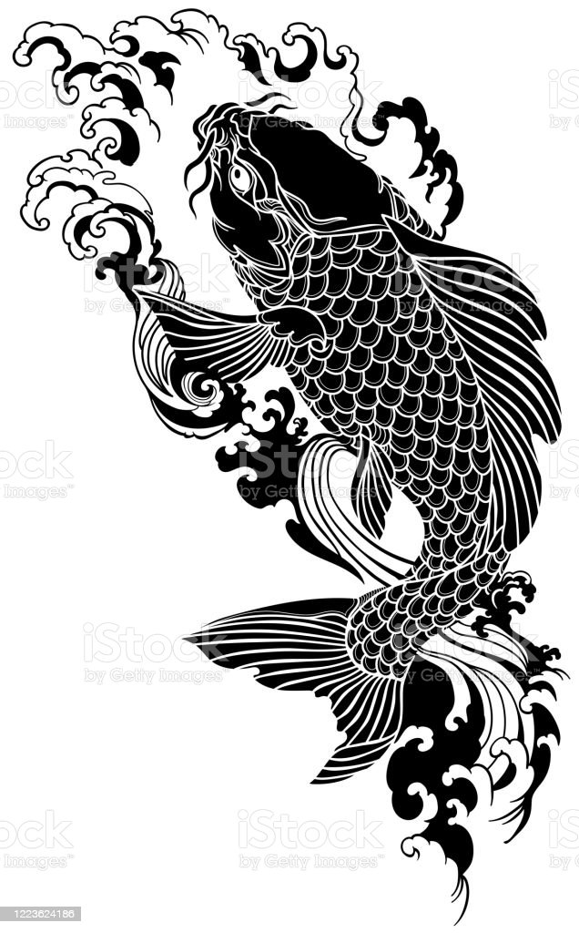 Koi Swimming Upstream : swimming, upstream, Black, Swimming, Upstream, Stock, Illustration, Download, Image, IStock