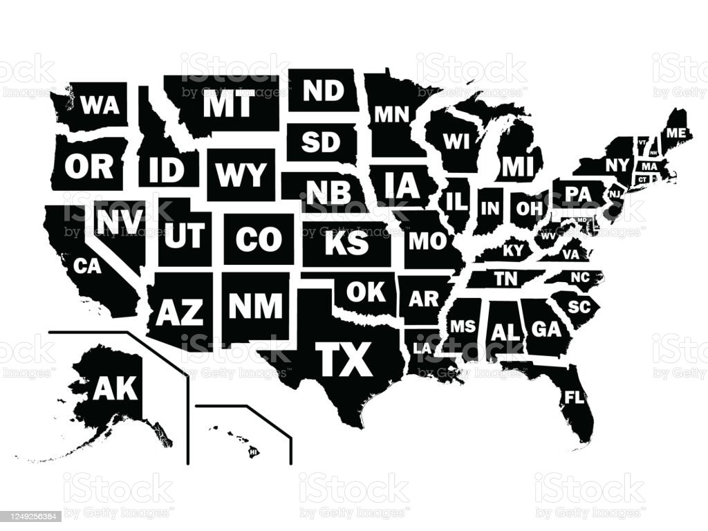 Black Map Of Us Federal States With Postal Code Abbreviations Stock Illustration Download Image Now Istock