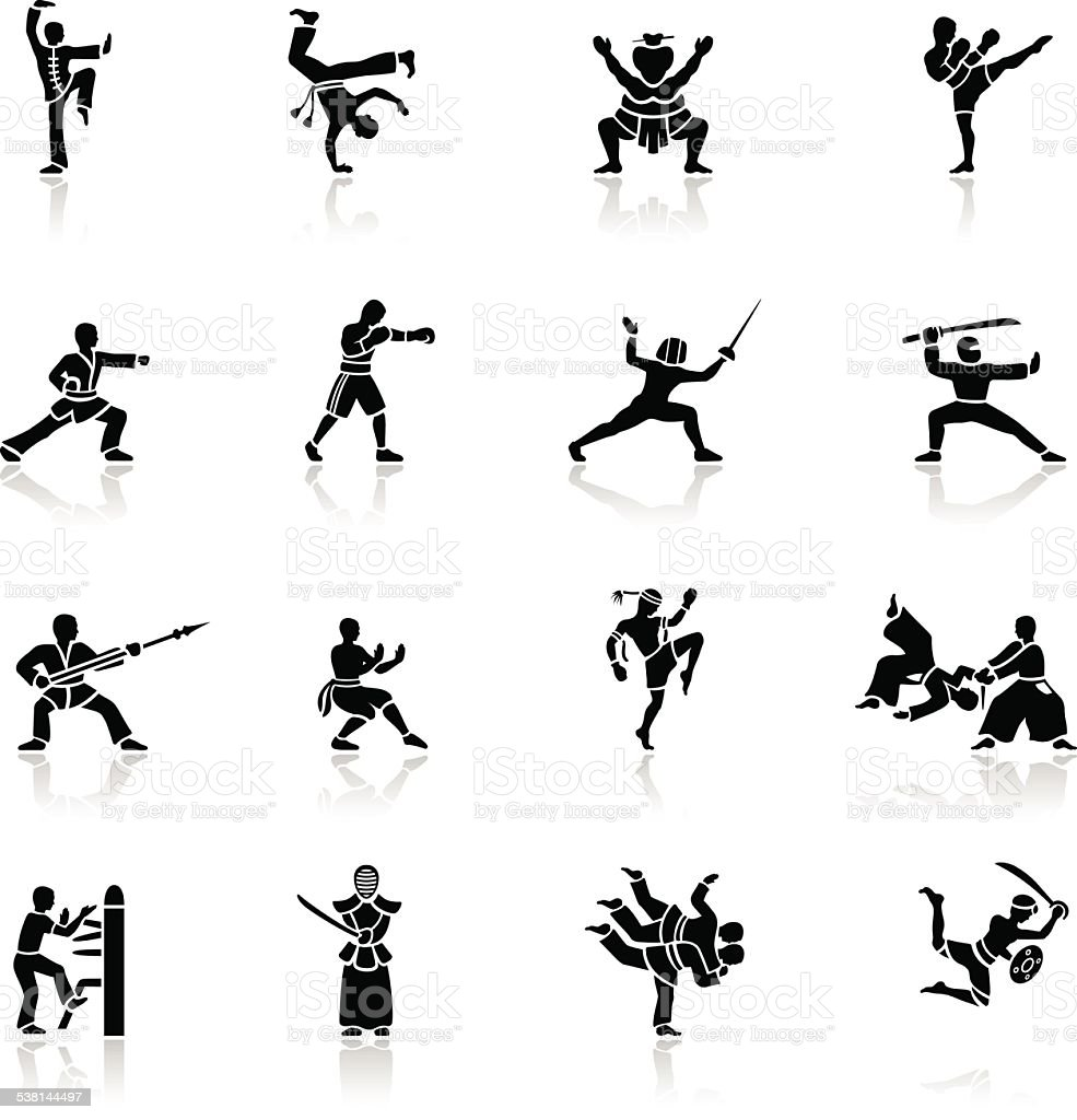 Black Martial Arts Icons Stock Vector Art & More Images of