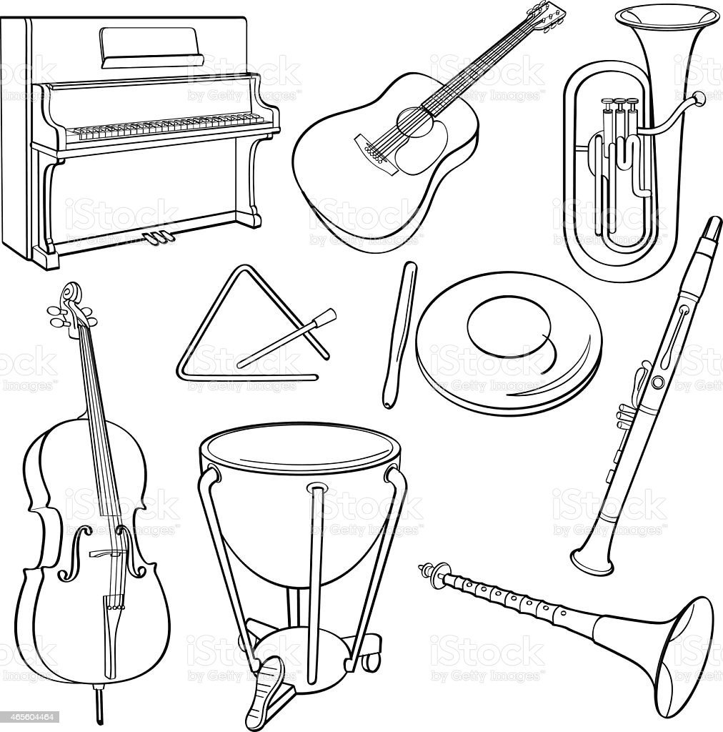 Black Outline Drawings Of Some Musical Instruments Stock