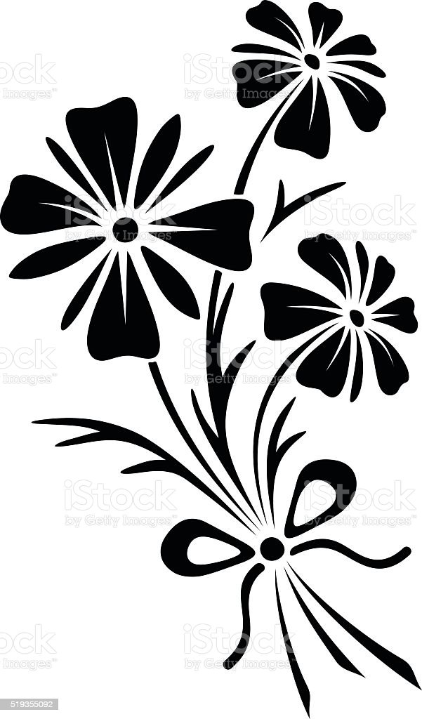Black White Clip Bouquet And Bow Flowers Art
