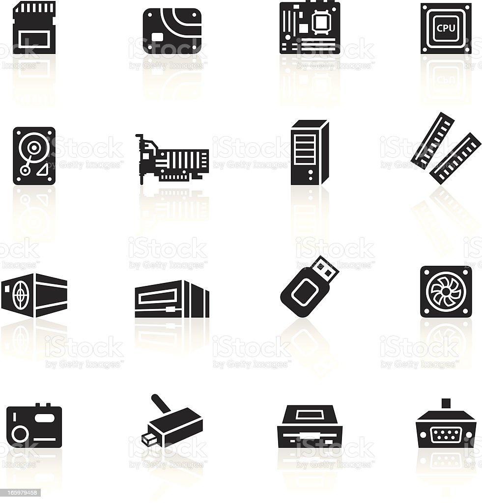 Black Symbols Computer Parts stock vector art 165979458