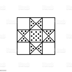 Black White Vector Illustration Of Lone Star Quilt Pattern Line Icon Of Quilting Patchwork Geometric Design Template Isolated On White Background Stock Illustration Download Image Now iStock