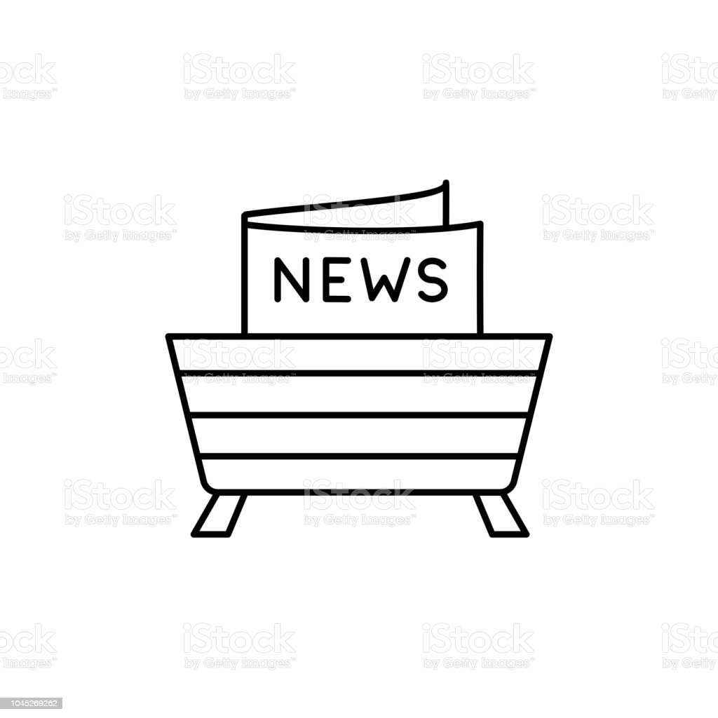 https www istockphoto com vector black white vector illustration of wooden magazine rack line icon of storage gm1045269262 279721993