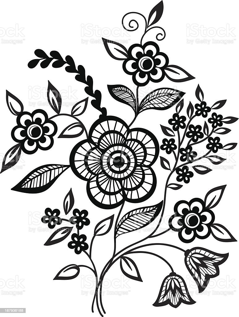 Blackandwhite Flowers And Leaves Design Element Stock