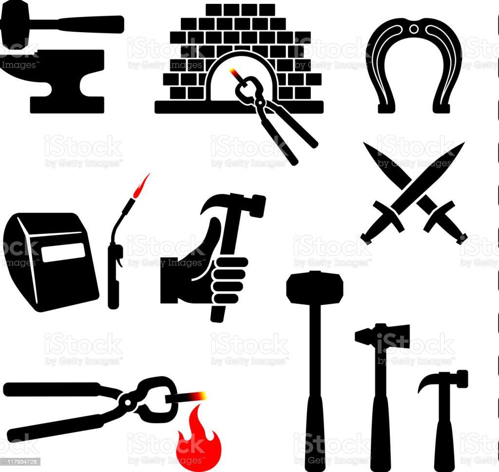 blacksmith black and white royalty free vector icon set art