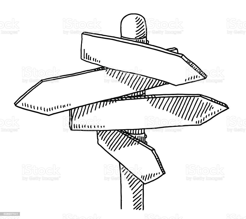 Blank Direction Signs Drawing Stock Illustration
