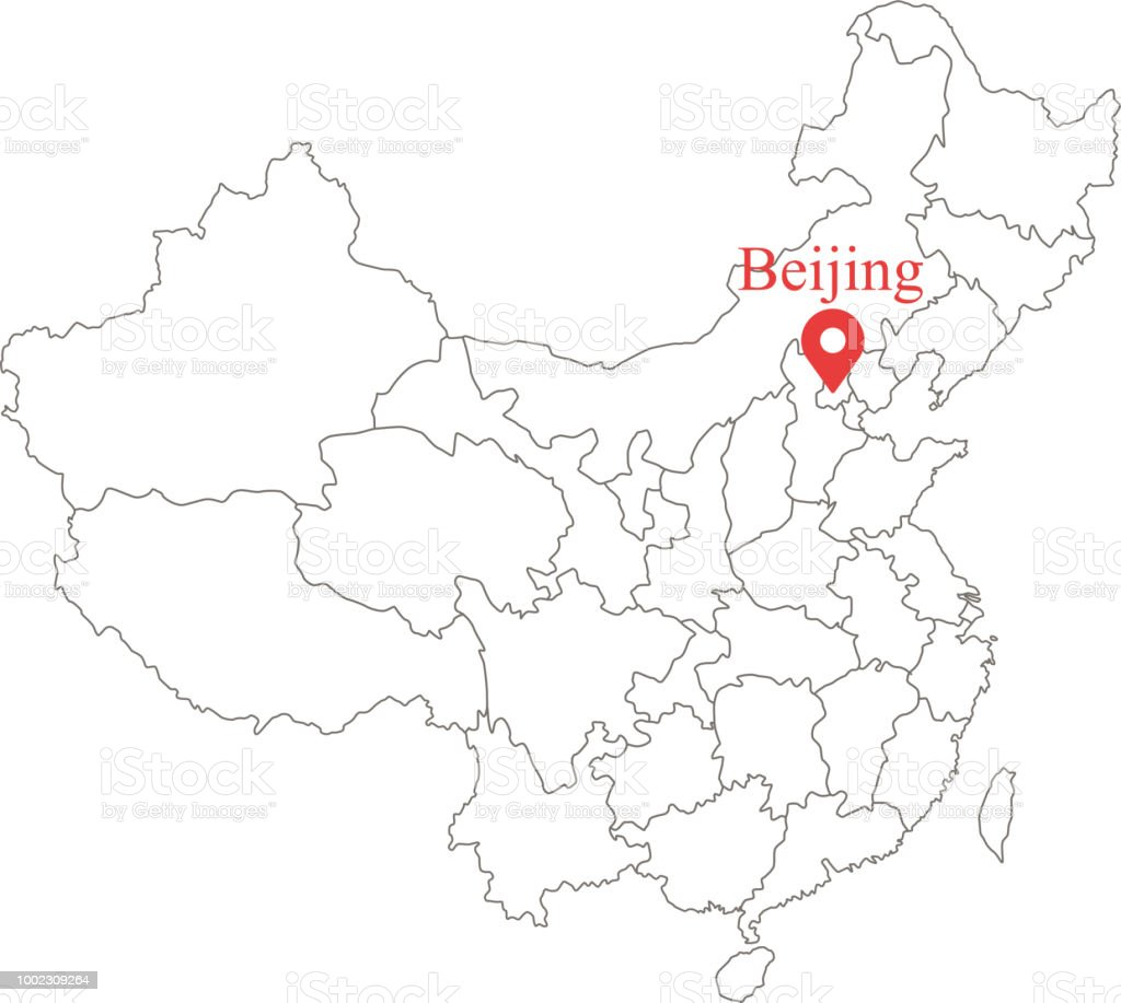 Blank Map Of China With Provinces Border Vector