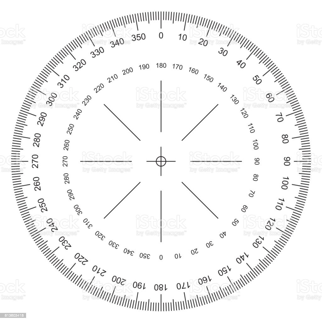 360 degree circle diagram schwinn electric scooter battery wiring blank protractor actual size graduation isolated on