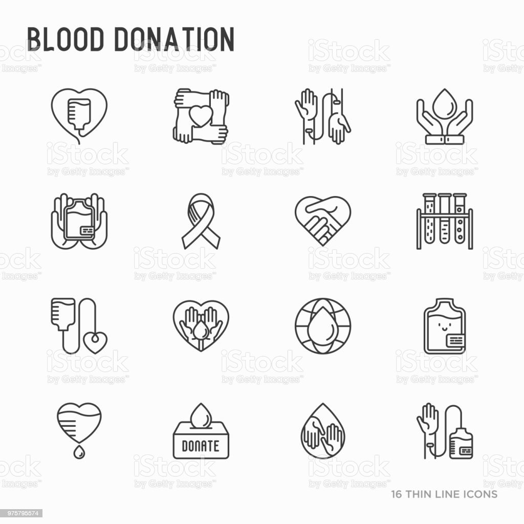 Blood Donation Charity Mutual Aid Thin Line Icons Set