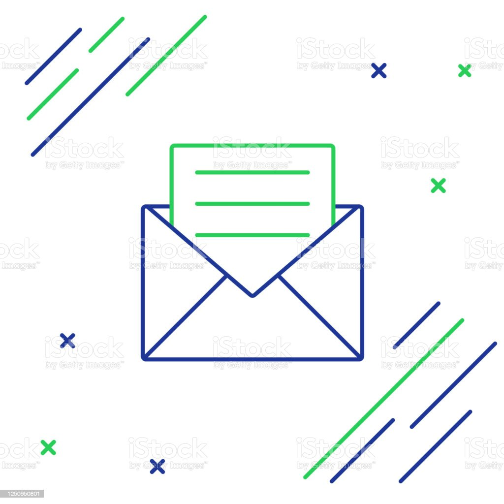 https www istockphoto com vector blue and green line envelope with invitation card icon isolated on white background gm1250950801 364931329