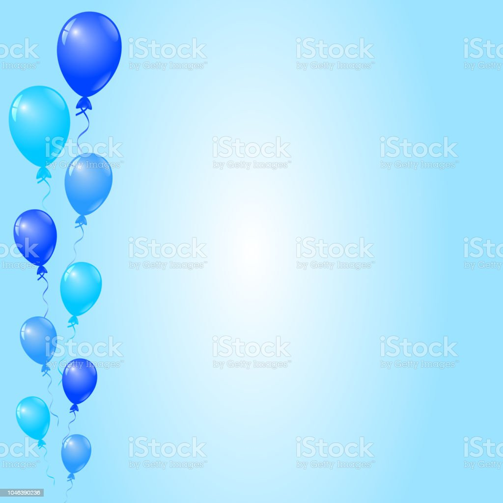 Create pool party invitations for sunny days filled with laughter. Blue Balloons On Blue Background Birthday Card Party Invitation Card Banner Stock Illustration Download Image Now Istock