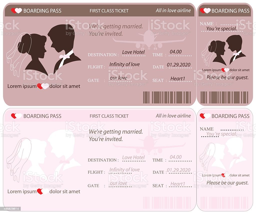 Boarding Pass Ticket Wedding Invitation Template Stock Vector Art More Images Of 2015