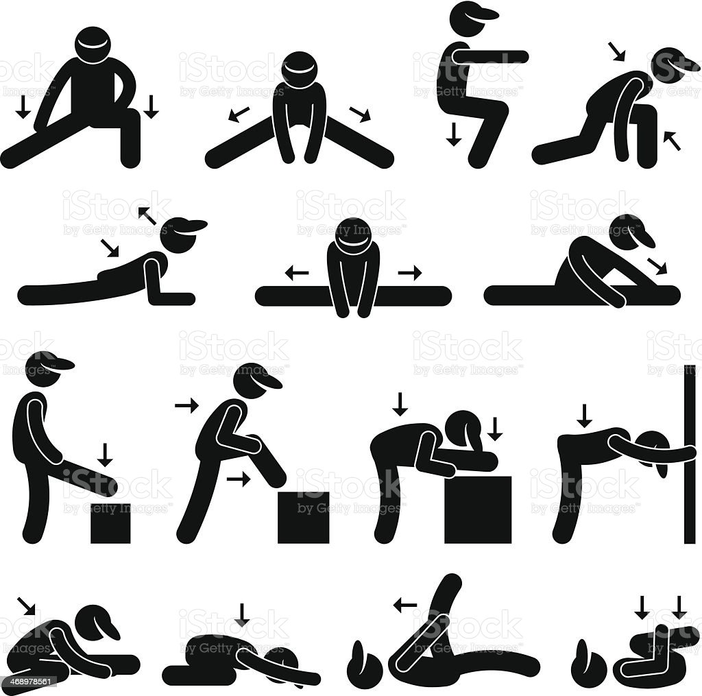 Body Stretching Exercise Stick Figure Pictogram Icon Stock