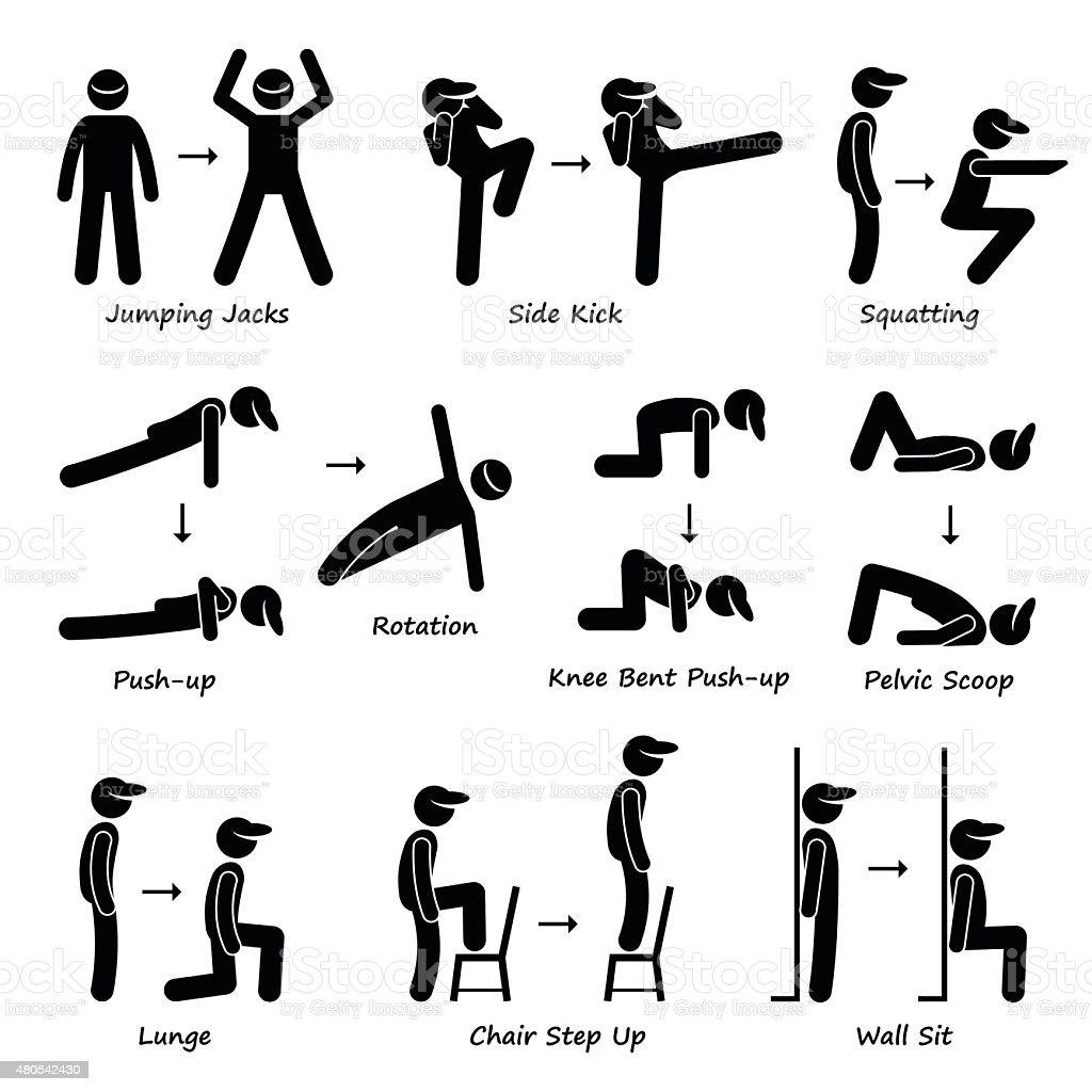 Body Workout Exercise Fitness Training Pictogram Stock
