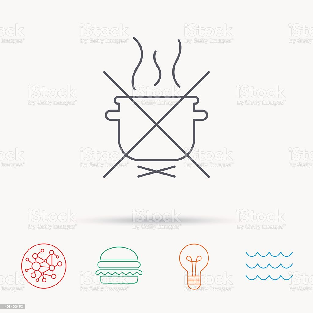hight resolution of boiling saucepan icon do not boil water sign illustration