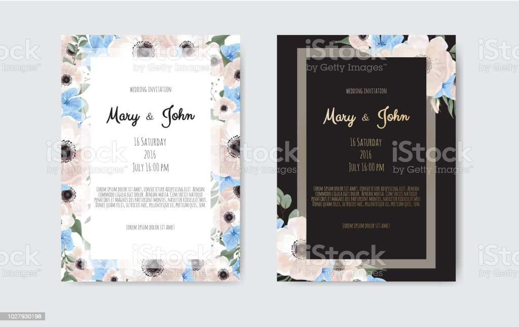 botanical wedding invitation card template design white and pink flowers on white and black background stock illustration download image now istock