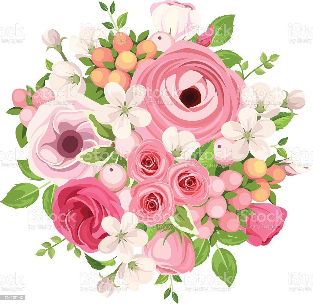 Blumenstrau Von Roten Und Rosa Blumen Vektorillustration