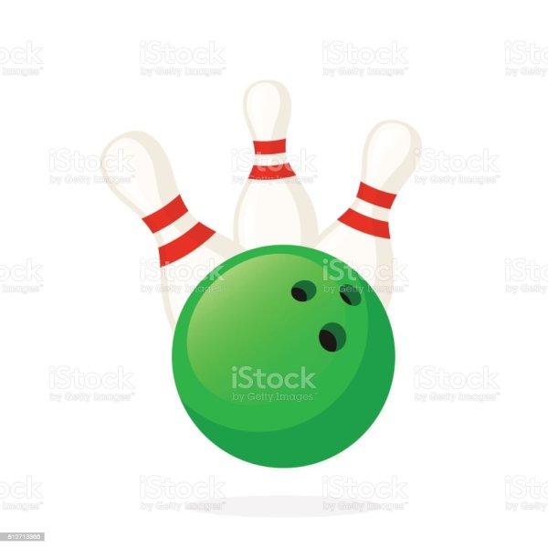 Bowling Ball Knocks Pins Stock Vector Art &