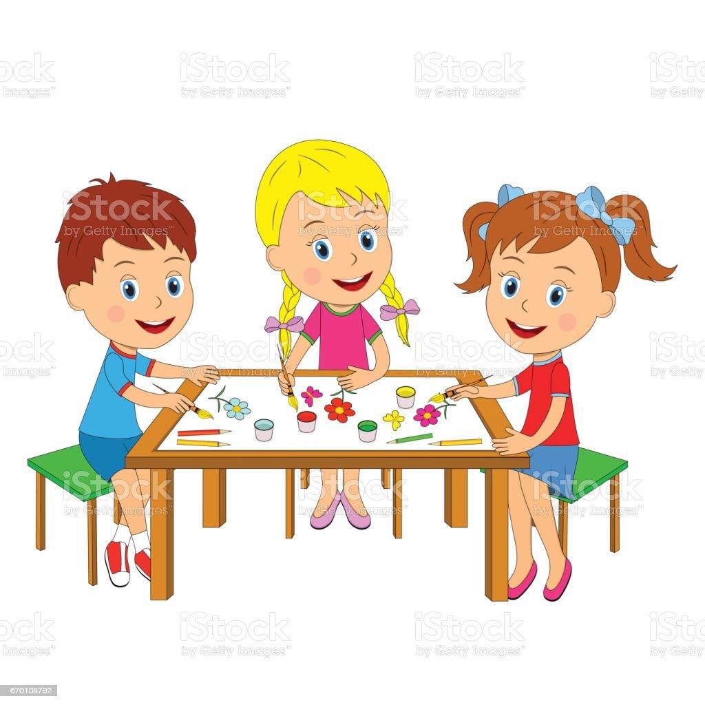 garcon et filles dessiner a la table vecteurs libres de droits et plus d images vectorielles de activite istock