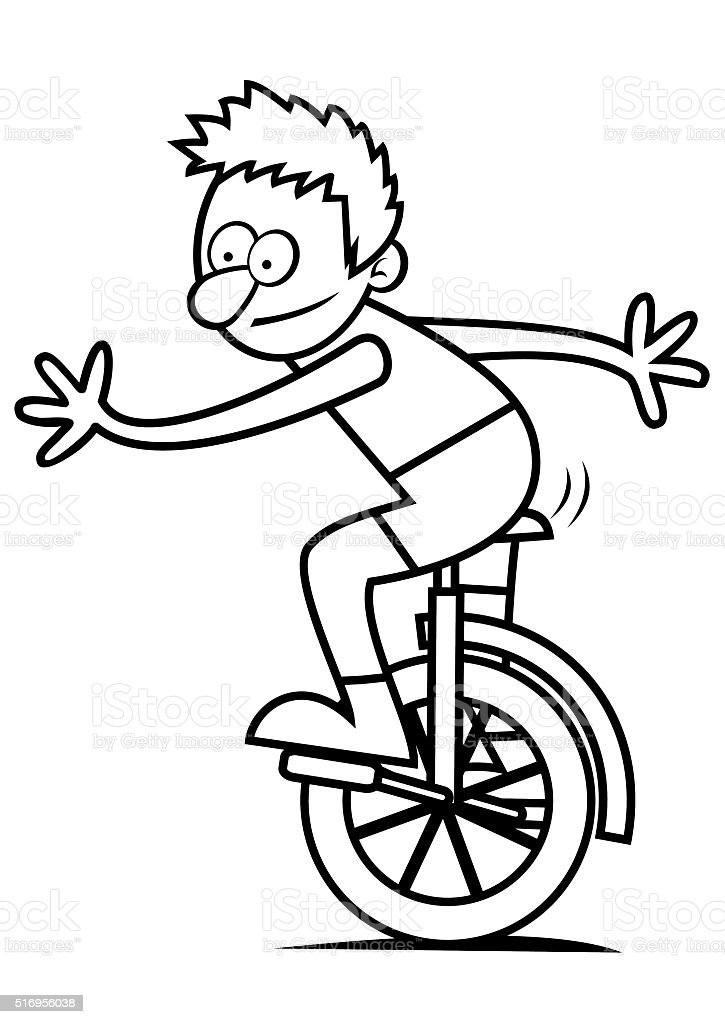 Boy And Unicycle Coloring Book Stock Illustration