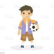 boy holding soccer ball cartoon