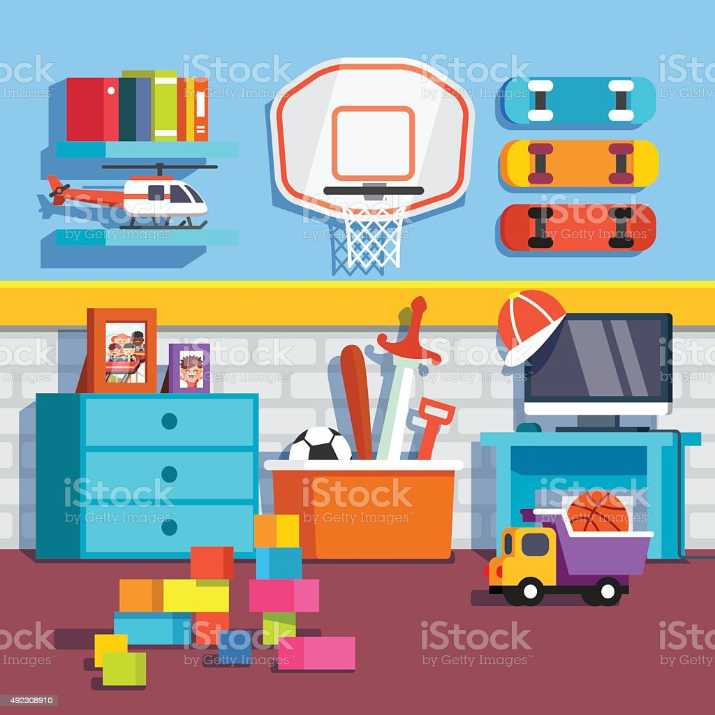 Boys Room With Toys Skateboards Basketball Ring Stock