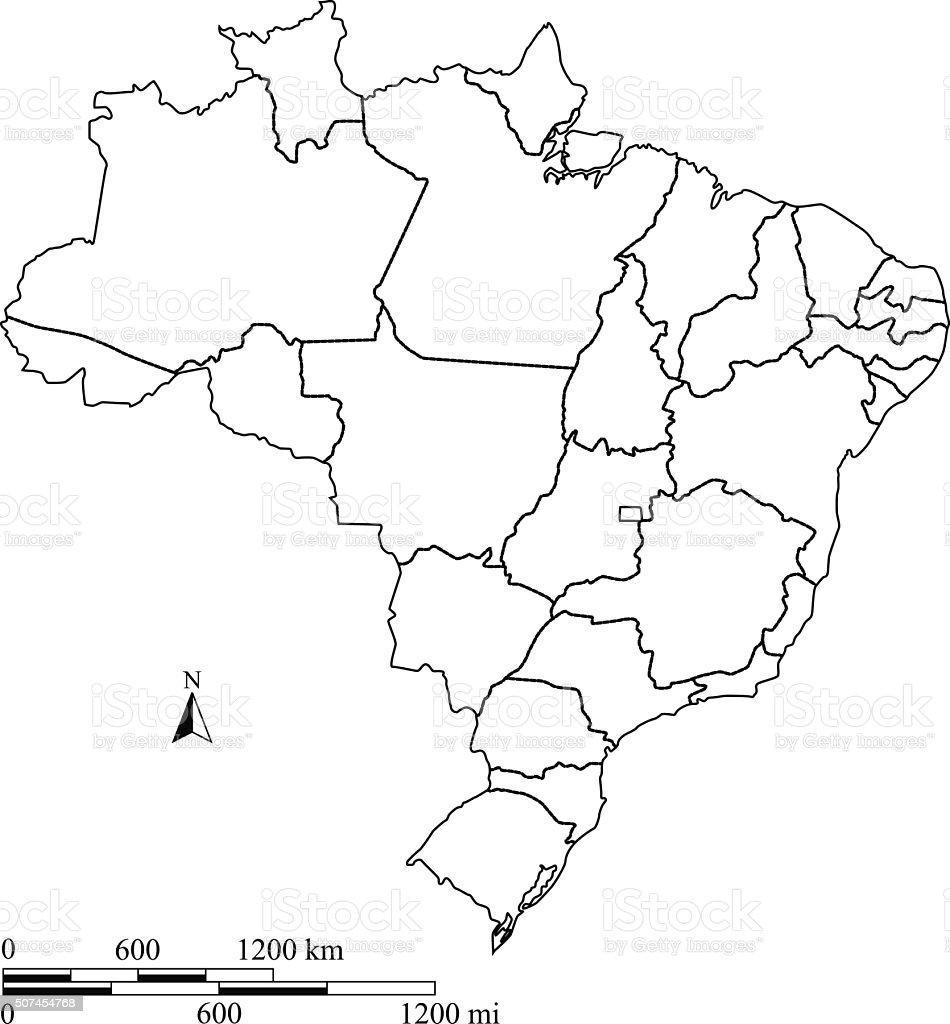 Brasil Mapa Vetor Contorno Com Escalas Em Um Projeto Em