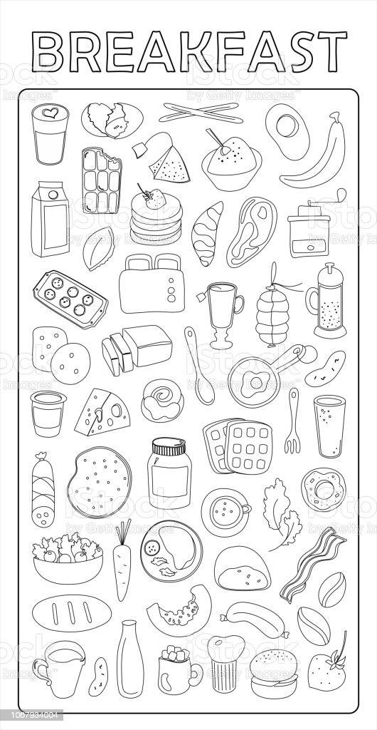 Breakfast doodles - squared paper. Illustration of