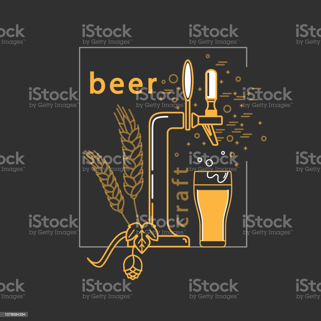 hight resolution of brewery craft beer label alcohol shop pub icon vector symbol in modern line style with beer tap hop wheat and beer glass isolated elements on a dark