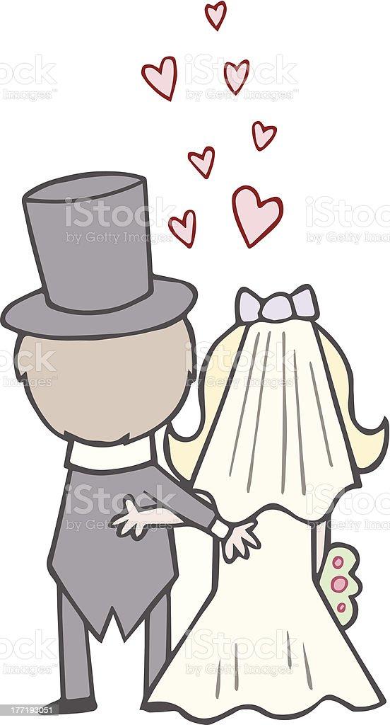 Braut Und Brutigam Hochzeit Comic Rcken Stock Vektor Art