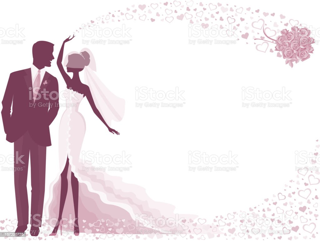 Bride And Groom Silhouette In Purple With Rose Bouquet Stock Vector Art  More Images of Adult