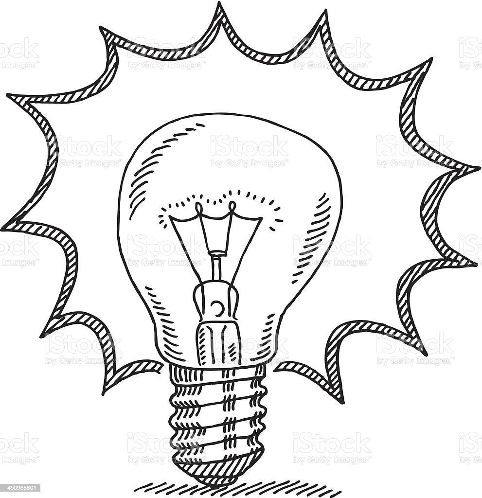 Bright Idea Light Bulb Drawing Stock Vector Art  More