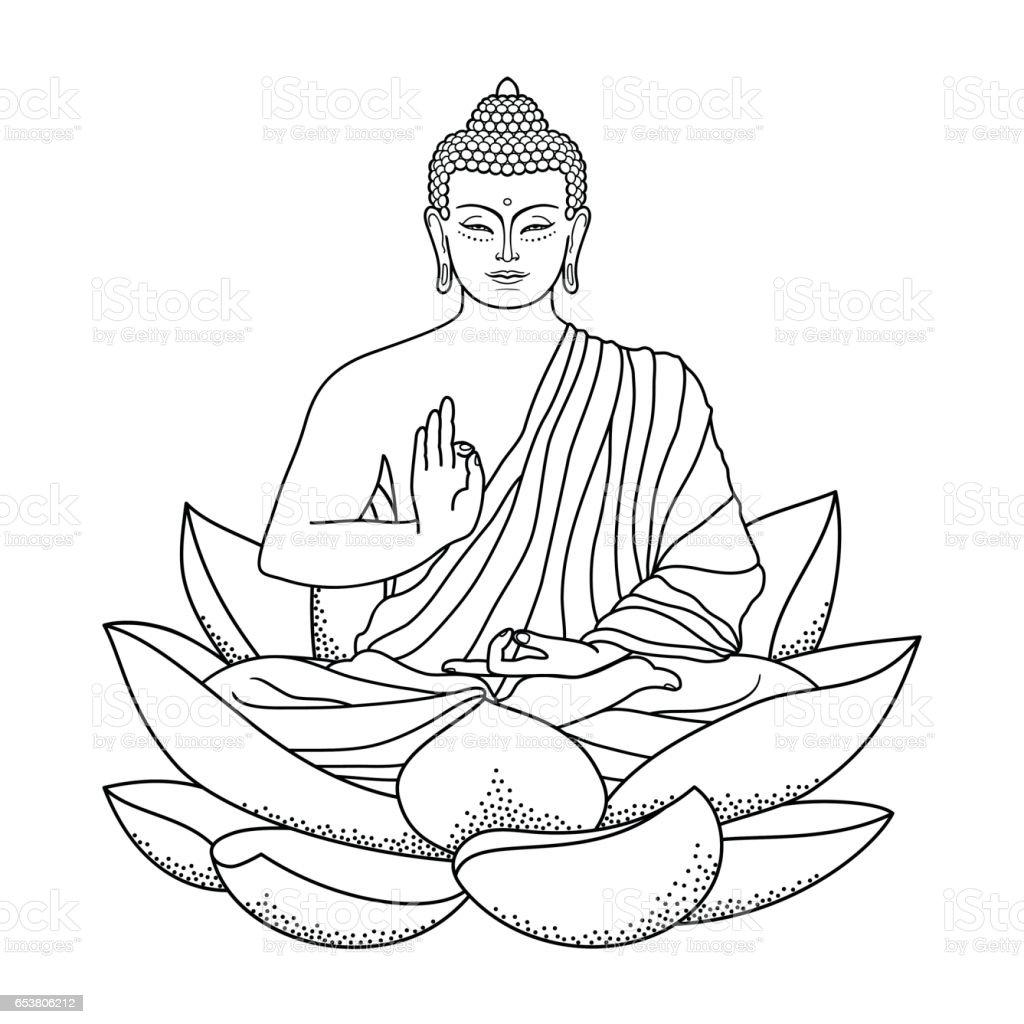 Buddha Sitting On Lotus Stock Illustration - Download