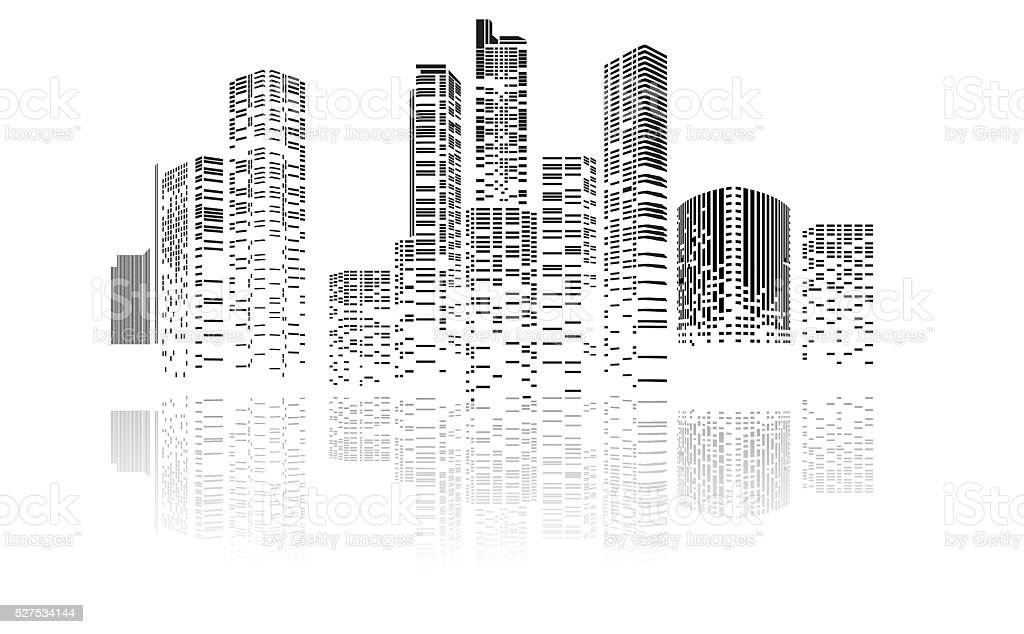 Building And City Illustration At Night Stock Illustration