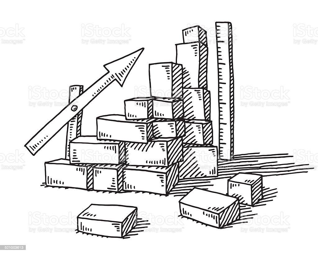 Building Blocks Success Graph Arrow Drawing Stock