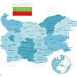 Bulgaria Administrative Bluegreen Map With Country Flag And Location On A Globe Stock Illustration Download Image Now Istock