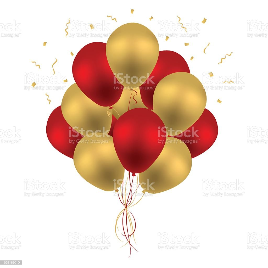 red and gold balloons illustrations
