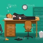 Burnout Im Buro Erschopfte Mitarbeiter Schlafen Auf Einem Schreibtisch Im Buro Humorburolebenvektorillustration Stock Vektor Art Und Mehr Bilder Von Abwarten Istock