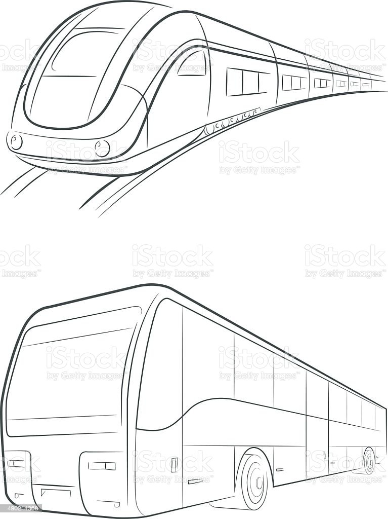 Royalty Free Train Line Drawing Clip Art Vector Images