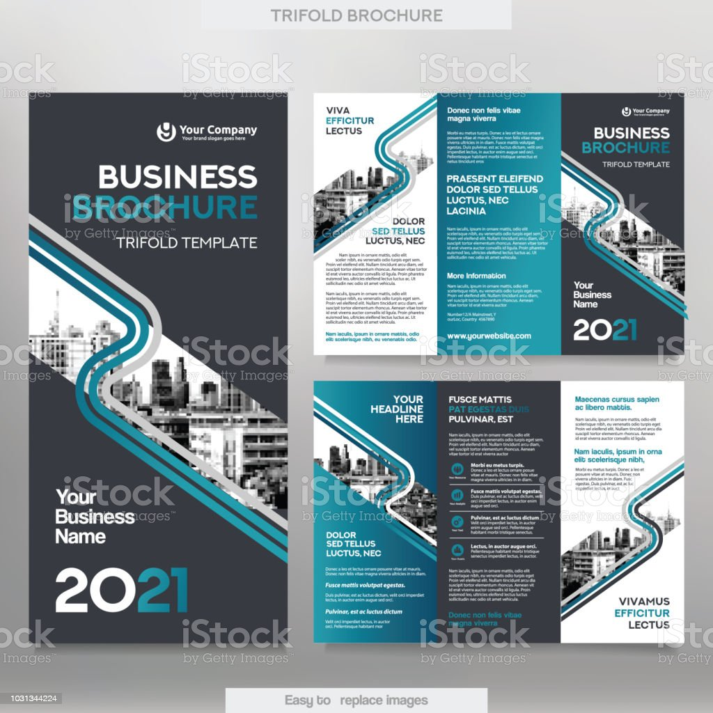 Business Brochure Template In Tri Fold Layout. Royalty-Free Business Brochure  Template In Tri