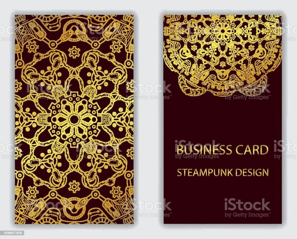 Business Card With Steampunk Design Elements Stock Vector