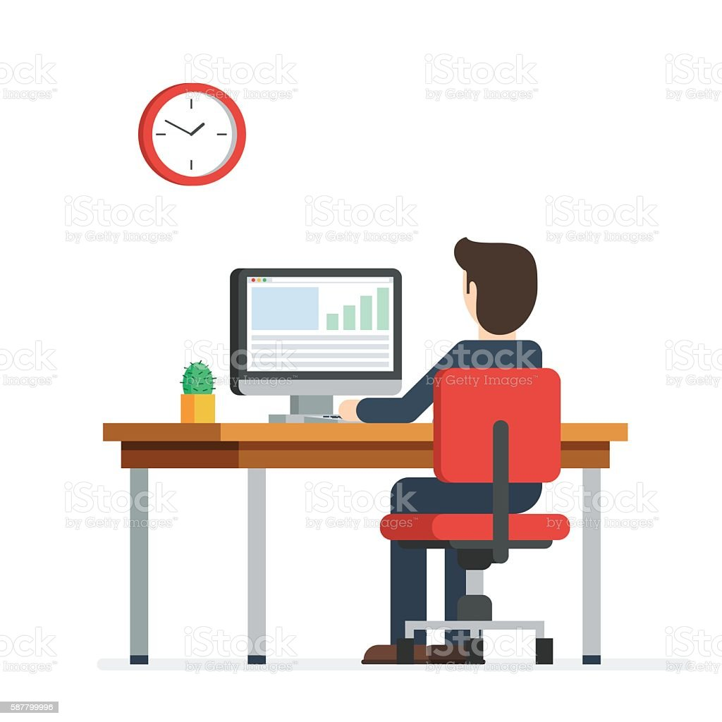 business man working computer