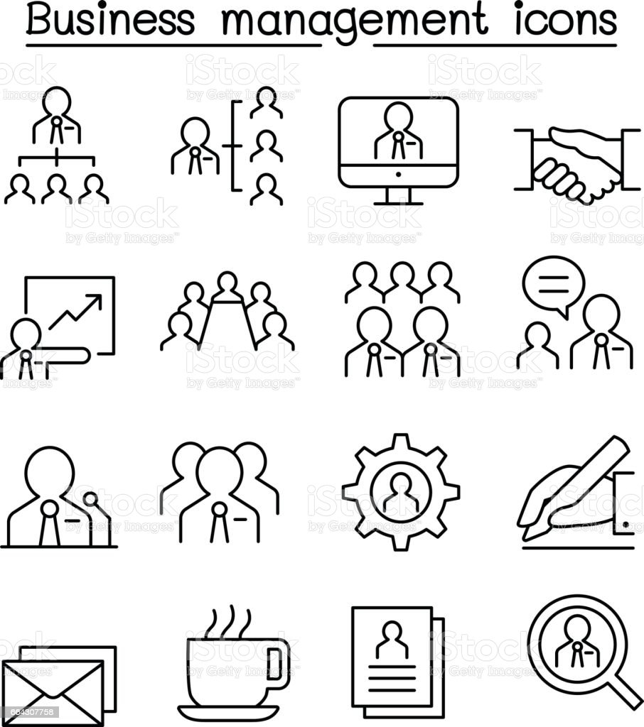 Business Management Teamwork Icon Set In Thin Line Style