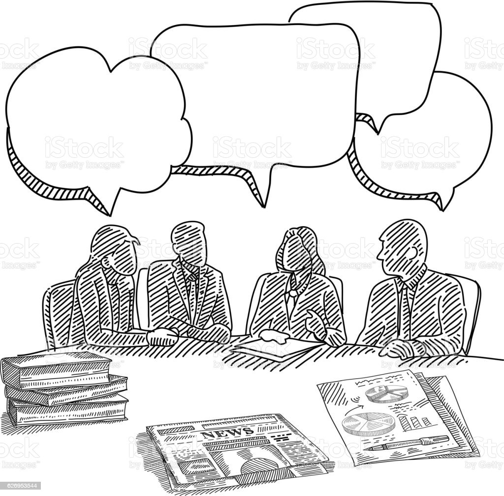 Business Meeting Drawing Stock Vector Art & More Images of