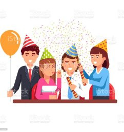 business people having fun at corporate party flat vector clipart illustration illustration  [ 1024 x 1024 Pixel ]